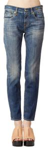 R13 Skinny Boyfriend Faded Whiskered Skinny Jeans-Medium Wash