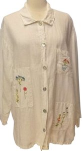 Hot Cotton Embroidered Button Down Shirt white