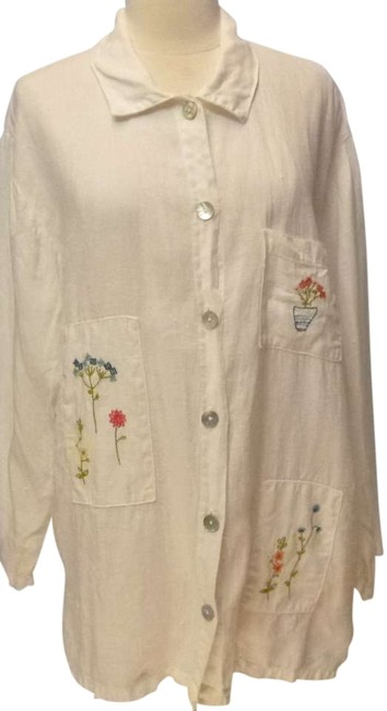 Hot Cotton Embroidered Medium Button Down Shirt white