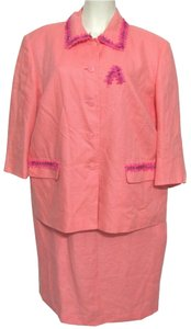 Talbots Salmon Pink 100% Irish Linen Talbots Dress + Jacket 14W