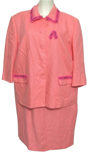 Item - Pink Salmon Irish Linen Dress + Jacket 14w Skirt Suit Size 16 (XL, Plus 0x)