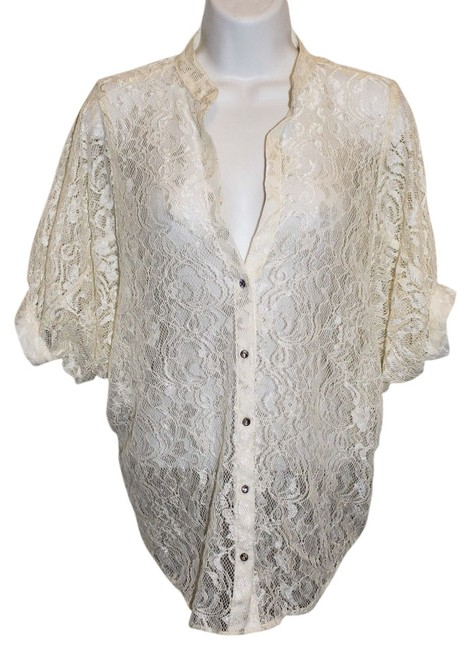 Guess Winged Cuff Mid Sleeve Long Sleeve Lace Cute Chic Trendy Stylish Date Night Affordable Hip Hipster Small Vintage Forever Button Down Shirt