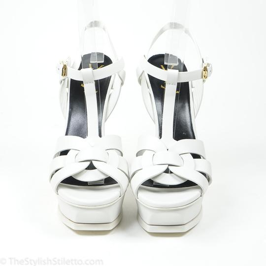 Saint Laurent Nib Tribute 105 39/9 Porcelain White Leather Platform Sandal Wedding Shoes