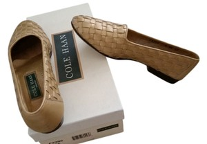 Cole Haan gold woven leather Flats