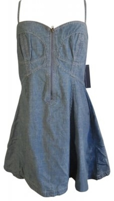 Preload https://item2.tradesy.com/images/french-connection-light-blue-denim-bustier-top-w-criss-cross-straps-mini-short-casual-dress-size-12--40276-0-0.jpg?width=400&height=650