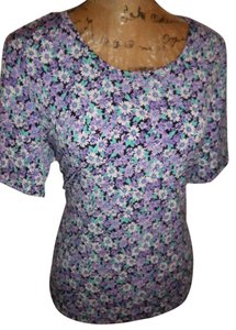 SerengiticCatalog.com Stretch Poly Spandex T Shirt Purple tiny Floral