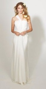 Nicole Miller Antique White Silk Ek0027 Destination Wedding Dress Size 8 (M)
