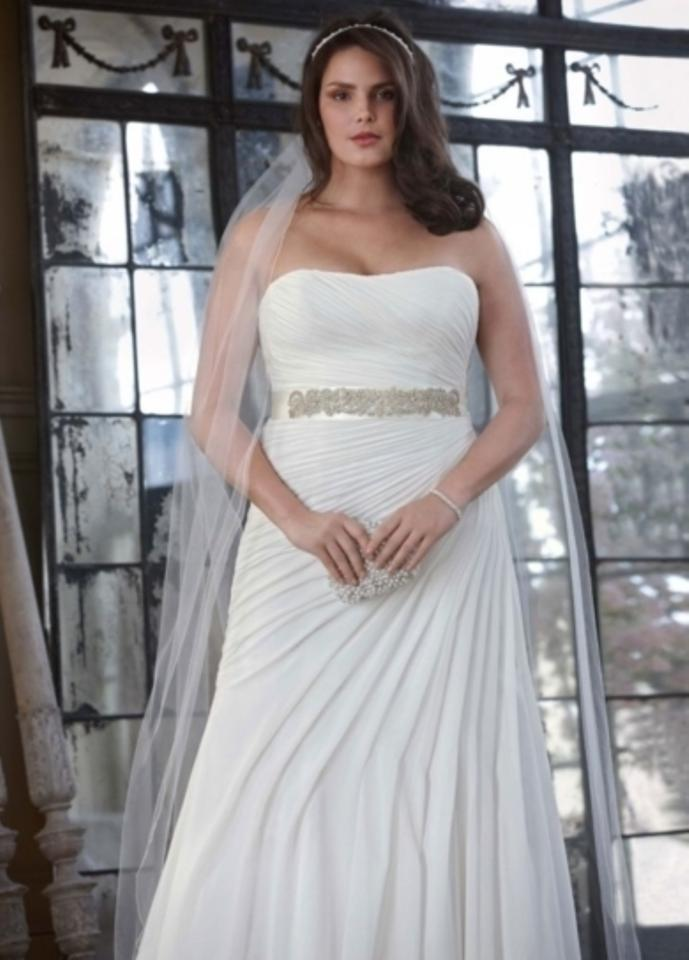 1161ca1875bf David's Bridal Ivory Crinkle Chiffon Gown with Asymmetrical Draping Style V3540  Wedding Dress