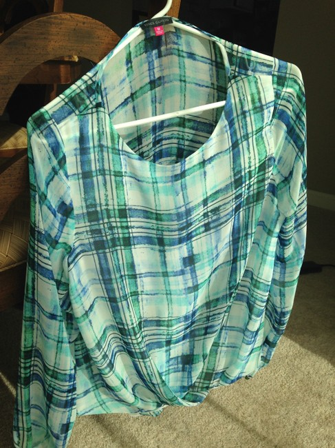 Vince Camuto Plaid Top Blue and Green