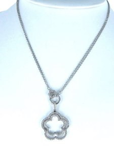 14KT WHITE GOLD KARAT NECKLACE DIAMOND 9.2DWT DOUBLE FLOWER FINE JEWELRY JEWEL