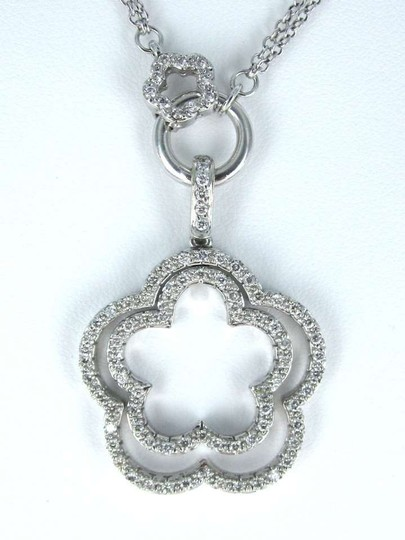 Other 14KT WHITE GOLD KARAT NECKLACE DIAMOND DOUBLE FLOWER