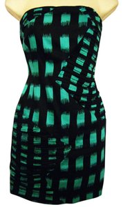 BCBGeneration short dress Aqua/Black Strapless Sheath on Tradesy