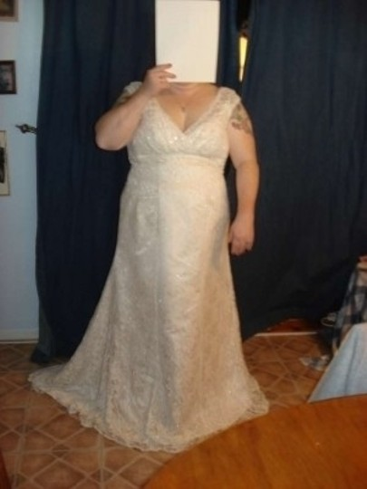 David's Bridal Champagne and Ivory Lace Over Satin Empire Waist Cap Sleeves Trumpet Skirt Wedding Dress Size 20 (Plus 1x)