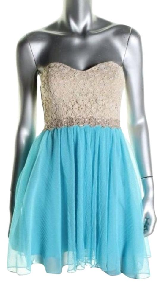 City Studios Gold Turquoise Semi Formal Cocktail Dress Size 6 (S ...