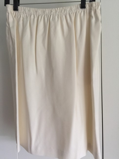 Real Clothes-Saks Fifth Avenue Cream dress skirt suit, back slit