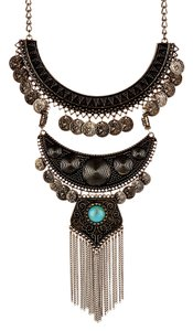 Sparkling Sage Sparkling Sage Detailed Coin & Fringe Bib Necklace