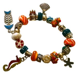 Other New European Charm Bracelet + 21 Charms Blue Orange Silver J1030