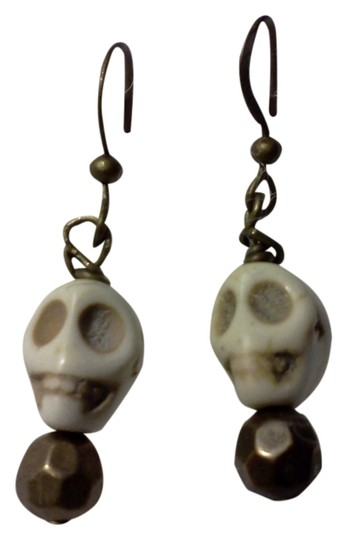 Other New never worn, a danghling skull on hook style earrings, made by Me