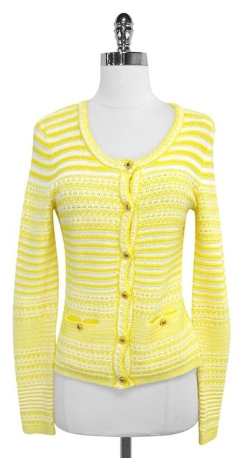 Preload https://item1.tradesy.com/images/trina-turk-yellow-white-striped-cotton-knit-sweaterpullover-size-2-xs-4029985-0-0.jpg?width=400&height=650