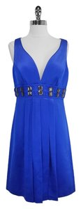 Badgley Mischka Blue Empire Waist Sleeveless Dress