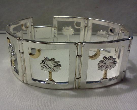 Other Silver tone Bracelet with a palm tree under the moon
