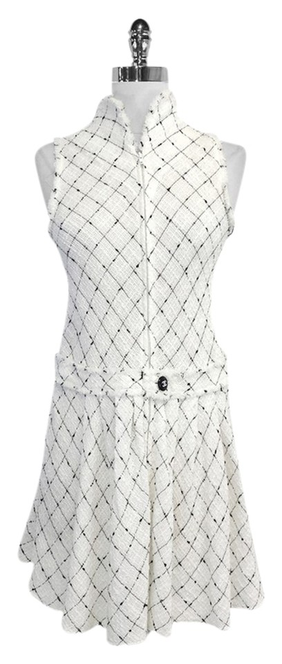 b714179bf8a Chanel White   Black Tweed Sleeveless Drop Waist Mini Short Casual ...