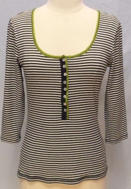Boden Striped 3/4 Sleeve T Shirt blue/white