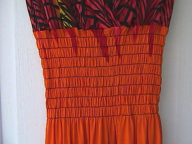 Orange Print Maxi Dress by Mei Li Jiao Yang W/ Tag Boho