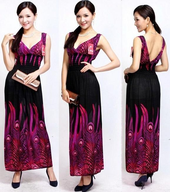 Purple Print Maxi Dress by Mei Li Jiao Yang W/ Tag Summer