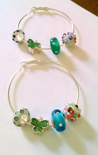 Other New Silver Blue Green Earrings 2 Inch Hoops Glass Beads J1031