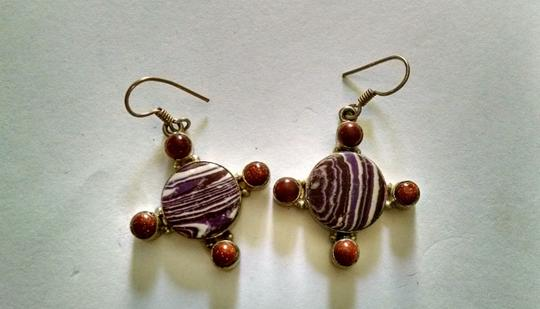 Other Purple Striped Turquoise Moon Stone Gemstone Earrings 925 Silver J1034