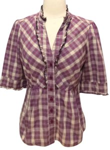 Anthropologie Ruffled Edme & Esyllte Top purple plaid