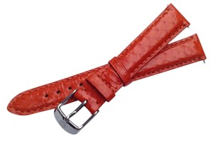 Michele Authentic Michele 16mm Orange Leather Watch Band