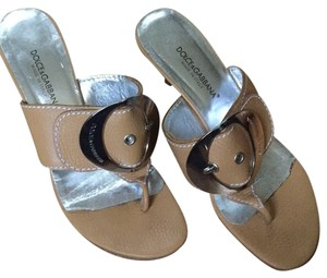 Dolce&Gabbana Tan And Silver Sandals