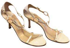 Jimmy Choo White And Gold Pumps