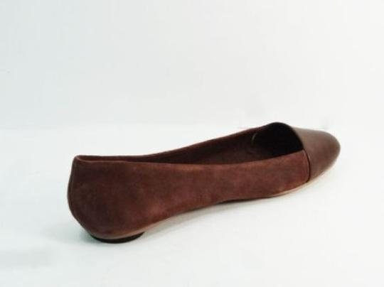 Kate Spade Saturday Half Circle Skimmers Leather Suede Brown Size 7 Saddle Flats