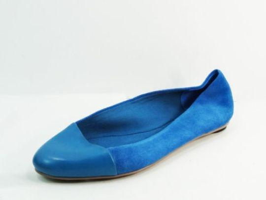 Kate Spade Saturday Half Circle Skimmers Leather Suede Size 7 blue Flats