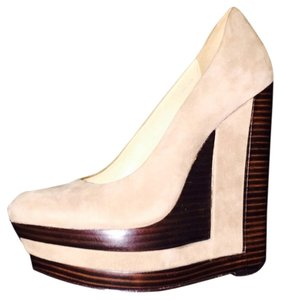 Rachel Zoe Beige And Brown Wedges