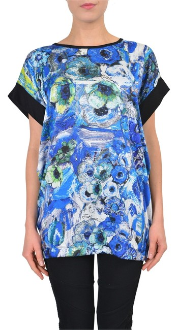 Preload https://item1.tradesy.com/images/just-cavalli-multi-color-short-sleeves-women-s-loose-blouse-tunic-size-4-s-4032400-0-0.jpg?width=400&height=650