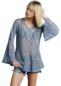 Free People Vapor Blue Peasant 70s Vibe Top