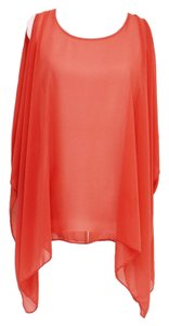 Korean Blouse Chiffon Chiffon Orange Top Peach Tangerine
