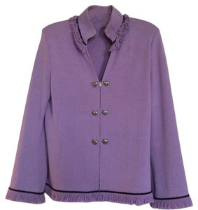 St  John Orchid with Black Trim Heart Shaped Silver Buttons Similar To  Brighton Styling  Cardigan Size 8 (M) 79% off retail