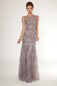 Rickie Freeman For Teri Jon Lilac Lilac Cap Sleeve Lace Beaded Gown Dress