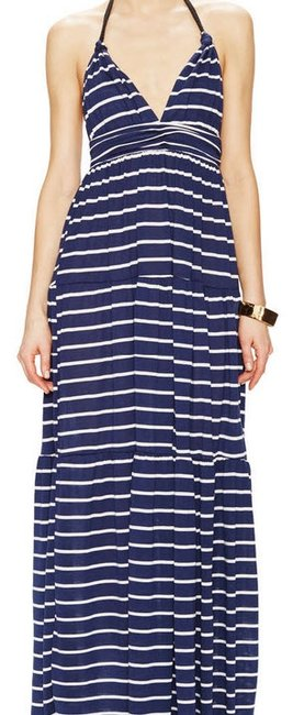 NWT Navy and white Maxi Dress by T-Bags Los Angeles Summer Maxi Halter Stripes Nautical