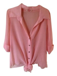 Body Central Button Down Shirt Pink