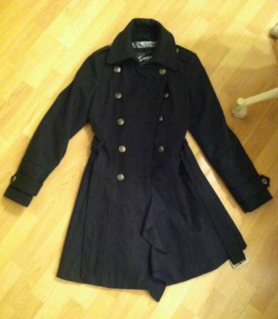 Guess Military Wool Ruffle Jacket Belted Belt Buckle Medium Double-breasted Tie Belt Winter Warm Fitted Flare Pockets Coat