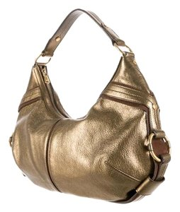Saint Laurent Ysl Metallic Leather Vintagegold Hobo Bag