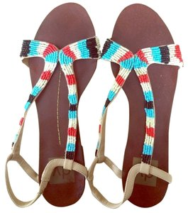 Dolce Vita Beaded Tan,Orange,Cream and Turquoise Sandals