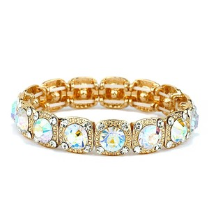 Mariell Best-selling Gold Bridal Or Prom Stretch Bracelet With Ab Solitaires 532b-ab-g