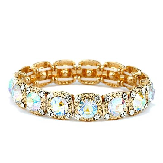 Mariell Gold Bridal Or Prom Stretch Bracelet With Crystals 532b-cr-g